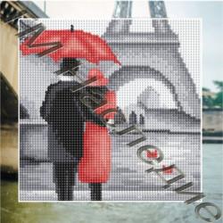 В Париже, набор для изготовления мозаики круглыми стразами 25х25см 11цв. полная выкладка