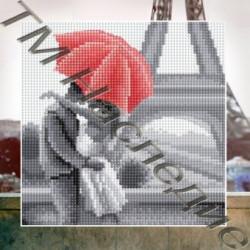Под зонтом, набор для изготовления мозаики круглыми стразами 25х25см 11цв. полная выкладка