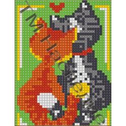 Кошки, набор для изготовления мозаики круглыми стразами 10,5х14,5см 7цв. полная выкладка