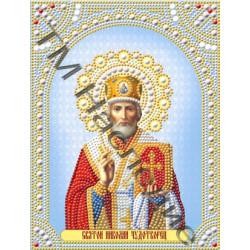 Николай Чудотворец, набор для изготовления мозаики круглыми стразами 19х25см частичная выкладка