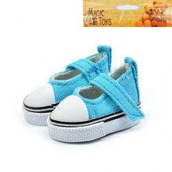 Кеды-туфли бирюзовые на липучке, длина стопы 5см высота 2,8см. Кукольная обувь