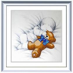 Мишутка, ткань с рисунком для вышивки бисером 25х25см. Конёк