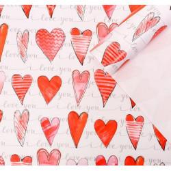 Акварельная любовь, глянцевая бумага упаковочная 70х100см SL