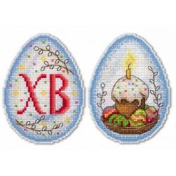 Пасхальное настроение, набор для вышивания крестиком на пластиковой канве 11х8см,18цветов Жар-птица