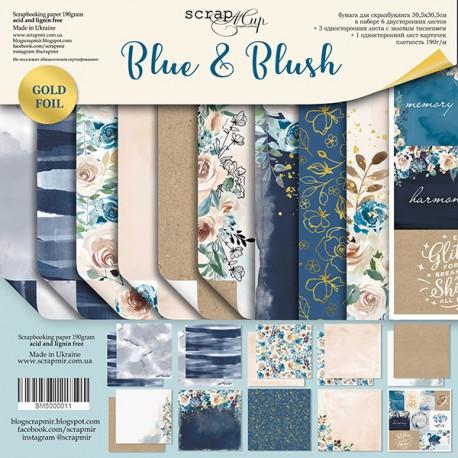 Blue&Blush, набор двусторонней бумаги с золотым тиснением 30х30см, 190гр/м, 6+3+1листов Scrapmir