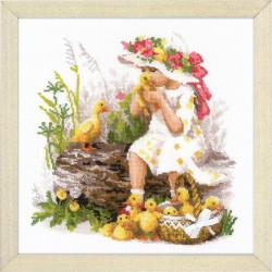 Девочка с утятами, набор для вышивания полукрестом, 30х30см, нитки шерсть Safil 23цвета Риолис