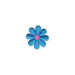 Цветок синий, 3.5х3.5см, аппликация на клеевой основе