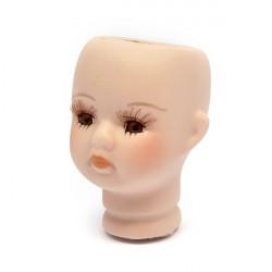 Голова фарфоровая для девочки с карими глазами 4,5х6,8см