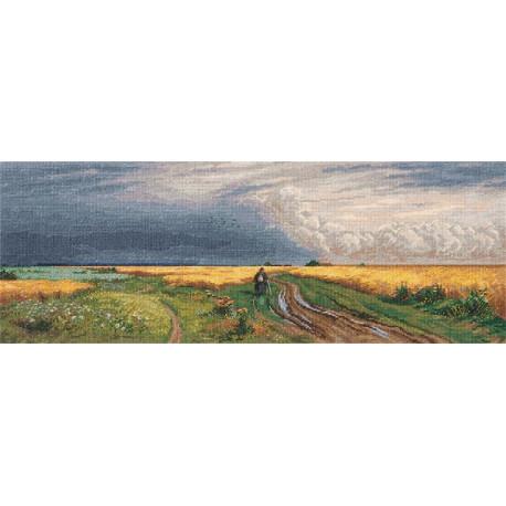 Дорога во ржи, набор для вышивания крестиком, 50х19см, 40цветов Panna