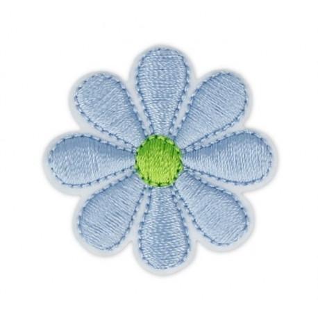Цветок голубой, 3.5х3.5см, аппликация на клеевой основе