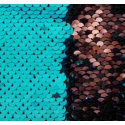 Голубой и розовый, ткань для рукоделия двусторонняя из пайеток 33х33(±2см) SL