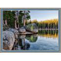 Озеро в Карелии, набор для изготовления картины стразами 70х50см 41цв. полная выкладка, АЖ