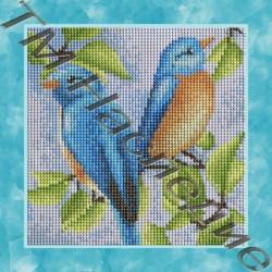 Парочка птичек, набор для изготовления мозаики круглыми стразами 25х25см 15цв. полная выкладка