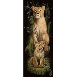 Львица и львенок, набор для изготовления мозаики круглыми стразами 36х50см полная выкладка