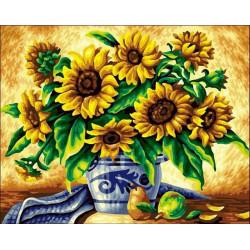 Желтые подсолнухи в синей вазе, набор для изготовления картины стразами 30х40см 18цв. полн. выкладка