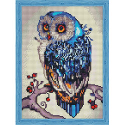 Необыкновенная сова, набор для изготовления мозаики на подрамнике 30х40см 25цв. полная выкладка