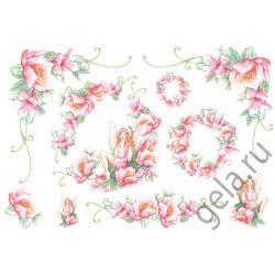 Фея и розовые цветы, бумага рисовая для декупажа 48х33см 28г/м? Stamperia