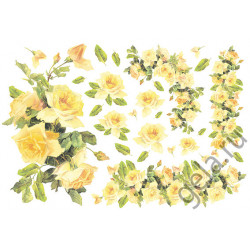 Желтые розы, бумага рисовая для декупажа, 48х33см, 28 г/м?