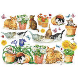 Кошки в саду, бумага рисовая для декупажа, 48х33см, 28 г/м?