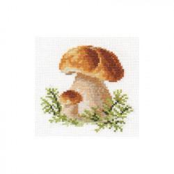 Белые грибы, набор для вышивания крестиком, 10х10см, 13цветов Алиса
