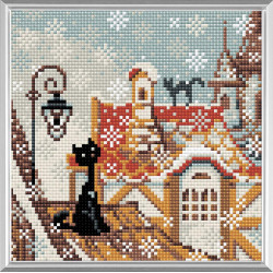 Город и кошки.Зима, алмазная мозаика 20х20см 11цв.квадратные стразы, полная выкладка Риолис