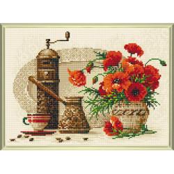 Кофе, алмазная мозаика 38х27см 21цв.квадратные стразы, полная выкладка Риолис