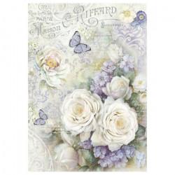 Белые розы и лиловые бабочки, бумага рисовая для декупажа 21х29,7см 28г/м? Stamperia