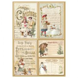 Рождественские открытки, бумага рисовая для декупажа 21х29,7см 28г/м? Stamperia