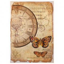 Часы и бабочки, бумага рисовая для декупажа 21х29,7см 28г/м? Stamperia