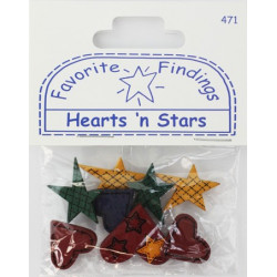 HEARTS N' STARS, пуговицы 7-25мм 8шт., Favorite Findings