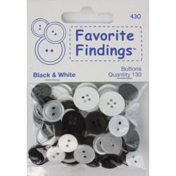 """Белое и Черное, """"Рубашечный микс"""", пуговицы 12-15мм 130шт., Favorite Findings"""