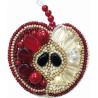 Красное яблоко, набор для изготовления броши из бусин и бисера, 5.5х7см ЧМ