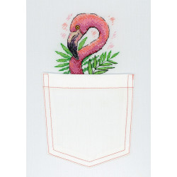 Розовый фламинго, набор для вышивания крестиком на одежде 9х9см, 13цветов Жар-птица