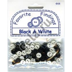 """Черное и Белое, """"Рубашечный микс"""" (мини), пуговицы 6мм 75шт., Favorite Findings"""