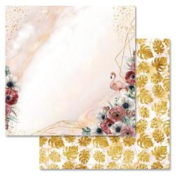 Золотые пески, коллекция Роскошный фламинго, бумага для скрапбукинга 30,5x30,5см 180г/м ScrapMania
