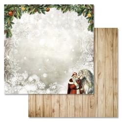 Белый конь, коллекция Новогодний лес, бумага для скрапбукинга 30,5x30,5см 180г/м ScrapMania