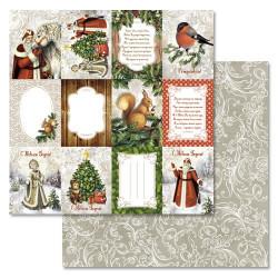 Карточки, коллекция Новогодний лес, бумага для скрапбукинга 30,5x30,5см 180г/м ScrapMania