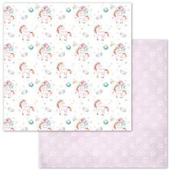 Волшебные единороги, коллекция Розовые грезы, бумага для скрапбукинга 30,5x30,5см 180г/м ScrapMania