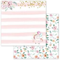 Мечты единорогов, коллекция Розовые грезы, бумага для скрапбукинга 30,5x30,5см 180г/м ScrapMania