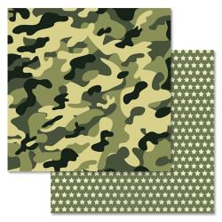 Камуфляж, коллекция Дембельский альбом, бумага для скрапбукинга 30,5x30,5см 180г/м ScrapMania