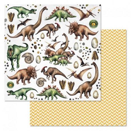 Фауна, коллекция Эра динозавров, бумага для скрапбукинга 30,5x30,5см 180г/м ScrapMania