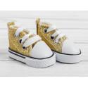 Кеды с золотыми блестками, длина стопы 5см. Кукольная обувь