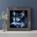 Неоновый кот, набор для изготовления картины стразами 25х25см 18цв. полная выкладка АЖ