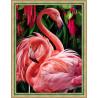 Пара фламинго, набор для изготовления картины стразами 30х40см 33цв. полная выкладка, АЖ