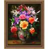 Розы и лилии, набор для изготовления картины стразами 40х50см 48цв. полная выкладка, АЖ
