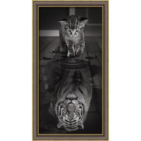 Тигр внутри, набор для изготовления картины стразами 30х60см 9цв. полная выкладка АЖ