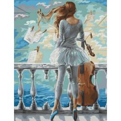 Море и виолончель, раскраска по номерам на холсте 40х50см 25цв Планета Картин