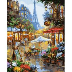 Цветы Парижа, раскраска по номерам на холсте 40х50см 24цв Планета Картин