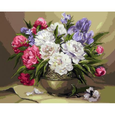 Цветочный натюрморт (худ. Anca Bulgaru), раскраска по номерам на холсте 40х50см 29цв Планета Картин