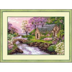 Весенний пейзаж, набор для вышивания крестиком, 38х26см, нитки шерсть Safil 19цветов Риолис